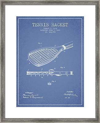 Tennis Racket Patent From 1887 - Light Blue Framed Print by Aged Pixel