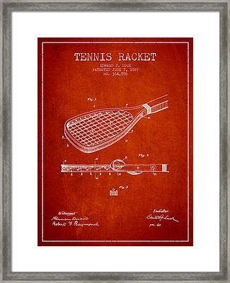 Tennis Racket Patent From 1887 - Red Framed Print by Aged Pixel