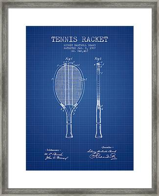 Tennis Racket Patent From 1907 - Blueprint Framed Print by Aged Pixel