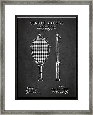 Tennis Racket Patent From 1907 - Charcoal Framed Print by Aged Pixel