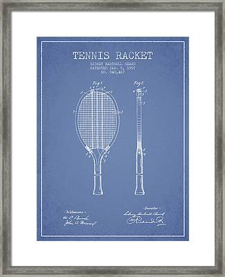 Tennis Racket Patent From 1907 - Light Blue Framed Print by Aged Pixel