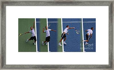 Tennis Serve By Mikhail Youzhny Framed Print by Nishanth Gopinathan