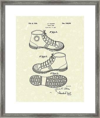 Tennis Shoe 1938 Patent Art Framed Print by Prior Art Design