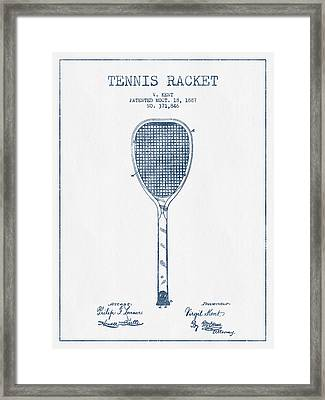 Tennnis Racket Patent Drawing From 1887 -  Blue Ink Framed Print by Aged Pixel