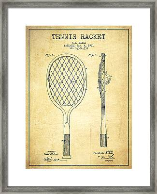 Tennnis Racketl Patent Drawing From 1921 - Vintage Framed Print by Aged Pixel