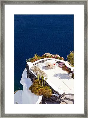 Terrace Garden On The Cliff Framed Print by Aiolos Greek Collections
