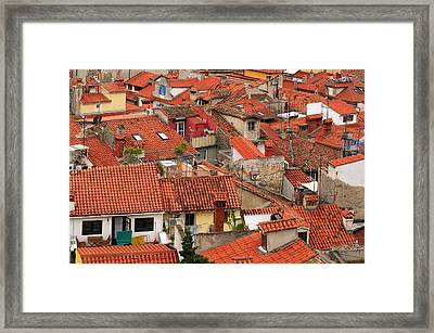 Terracotta Tiles Of Piran Framed Print by Graham Hawcroft pixsellpix