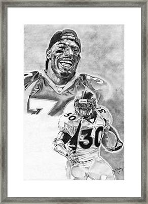 Terrell Davis Framed Print by Jonathan Tooley