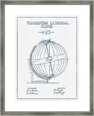Terrestro Sidereal Globe Patent Drawing From 1886- Blue Ink Framed Print by Aged Pixel