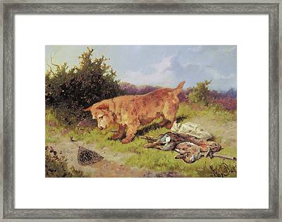 Terrier Watching A Rabbit Trap Framed Print by Arthur Batt