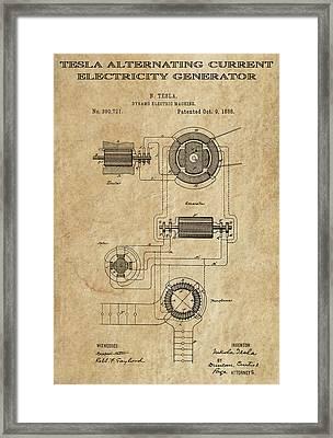 Tesla Alternating Current 3 Patent Art 1888 Framed Print by Daniel Hagerman