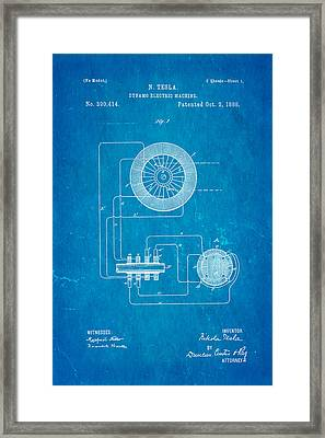 Tesla Electric Dynamo Patent Art 1888 Blueprint Framed Print by Ian Monk