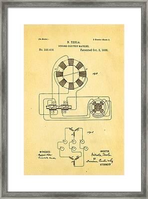 Tesla Electric Dynamo Patent Art 2 1888 Framed Print by Ian Monk