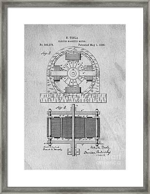 Tesla Electro Magnetic Motor Patent 1888 Framed Print by Edward Fielding