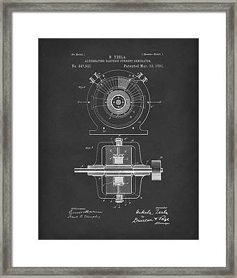 Tesla Generator 1891 Patent Art  Black Framed Print by Prior Art Design