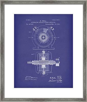Tesla Generator 1891 Patent Art  Blue Framed Print by Prior Art Design