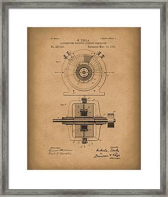 Tesla Generator 1891 Patent Art  Brown Framed Print by Prior Art Design