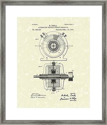 Tesla Generator 1891 Patent Art Framed Print by Prior Art Design