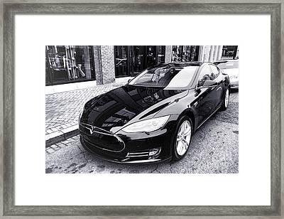 Tesla Model S Framed Print by Olivier Le Queinec