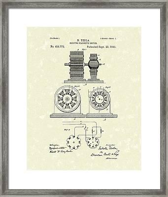 Tesla Motor 1891 Patent Art Framed Print by Prior Art Design