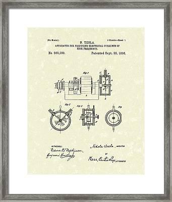 Tesla Radio Transmitter 1896 Patent Art Framed Print by Prior Art Design
