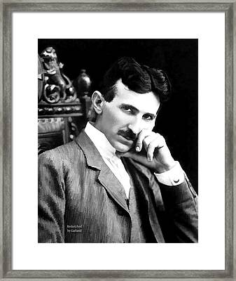 Tesla The Father Of Modern Electricity  Framed Print by Garland Johnson