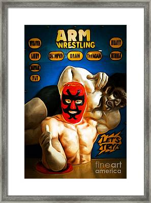 Test Your Strength Against The Vintage Arm Wrestling Machine 7d1 Framed Print by Wingsdomain Art and Photography