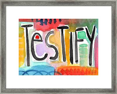 Testify Greeting Card- Colorful Painting Framed Print by Linda Woods