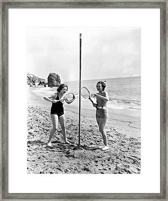 Tetherball On The Beach Framed Print by Underwood Archives