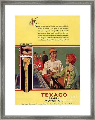 Texaco 1926 1920s Usa Cc  Baseball  Oil Framed Print by The Advertising Archives