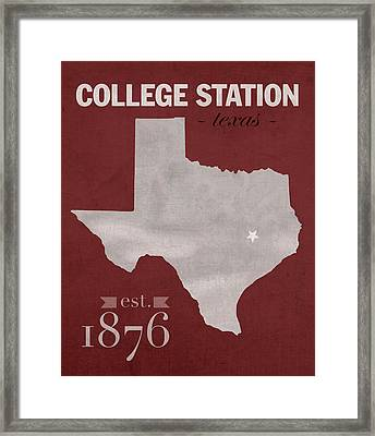 Texas A And M University Aggies College Station College Town State Map Poster Series No 106 Framed Print by Design Turnpike