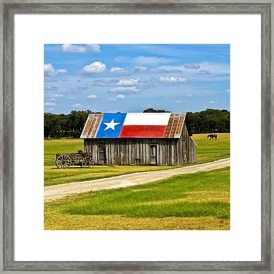Texas Barn Flag Framed Print by Gary Grayson