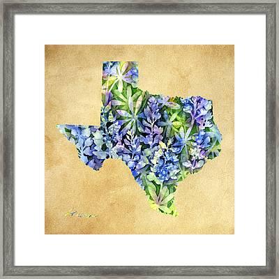 Texas Blues Texas Map Framed Print by Hailey E Herrera