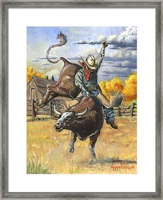 Texas Bull Rider Framed Print by Jeff Brimley
