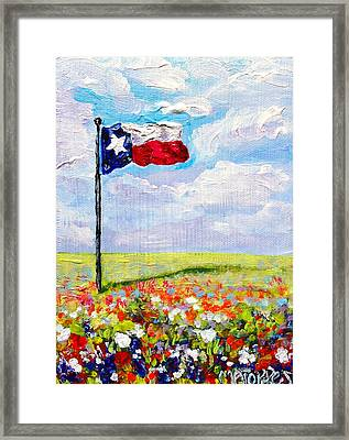 Texas Flag And Wildflowers Framed Print by Melissa Torres
