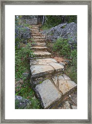 Texas Hill Country Images - Stairs At Pedernales Falls State Par Framed Print by Rob Greebon