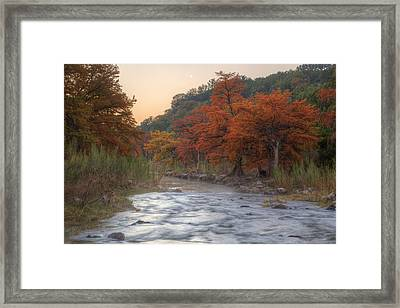 Texas Hill Country Images - The Pedernales River In Autumn Moonr Framed Print by Rob Greebon
