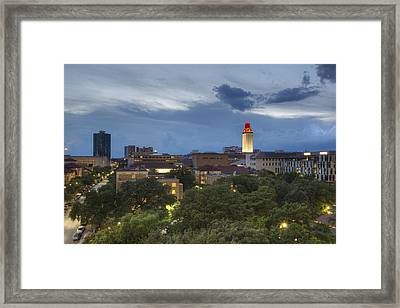 The University Of Texas Tower As Storms Move Into Austin Texas Framed Print by Rob Greebon