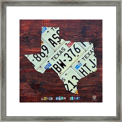 Texas License Plate Map The Lone Star State On Fruitwood Framed Print by Design Turnpike