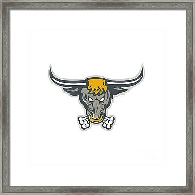 Texas Longhorn Bull Head Front Framed Print by Aloysius Patrimonio