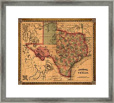 Texas Map Art - Vintage Antique Map Of Texas Framed Print by World Art Prints And Designs