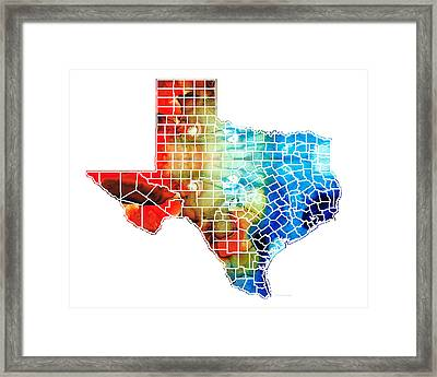 Texas Map - Counties By Sharon Cummings Framed Print by Sharon Cummings