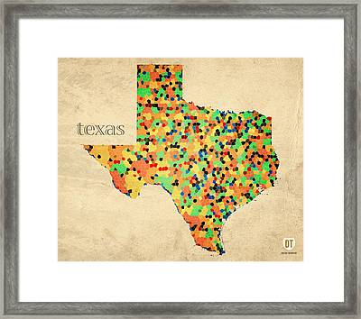 Texas Map Crystalized Counties On Worn Canvas By Design Turnpike Framed Print by Design Turnpike