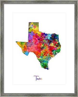 Texas Map Framed Print by Michael Tompsett