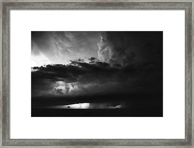 Texas Panhandle Supercell - Black And White Framed Print by Jason Politte