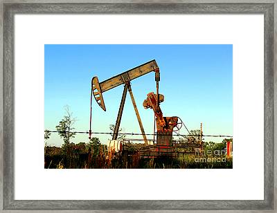 Texas Pumping Unit Framed Print by Kathy  White