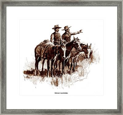 Texas Rangers, Lithograph Of A Wash Framed Print by Everett