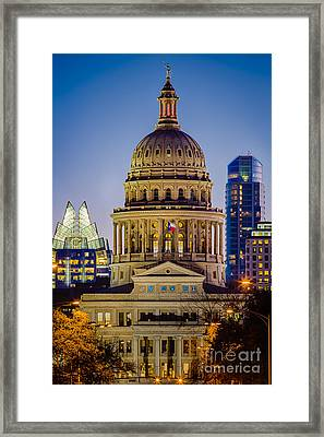 Texas State Capitol By Night Framed Print by Inge Johnsson