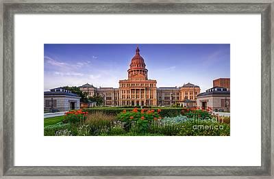 Texas State Capitol Summer Morning - Austin Texas Framed Print by Silvio Ligutti