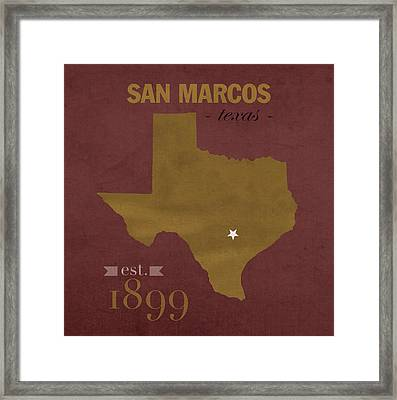 Texas State University Bobcats San Marcos College Town State Map Pillow Framed Print by Design Turnpike
